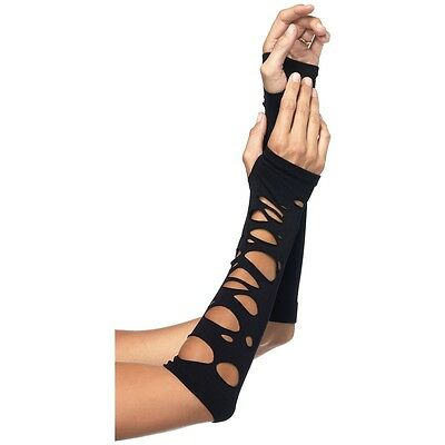 Gothic Arm Warmers Womens Long Black Fingerless Halloween Costume Gloves