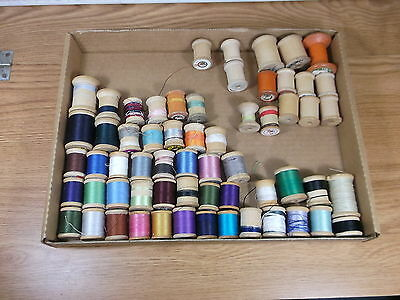 Various thread wooden spools 60 in total