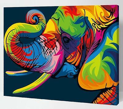 Painting by Numbers kit Multi-colored Elephant Honesty Wild Animal DIY ML7143