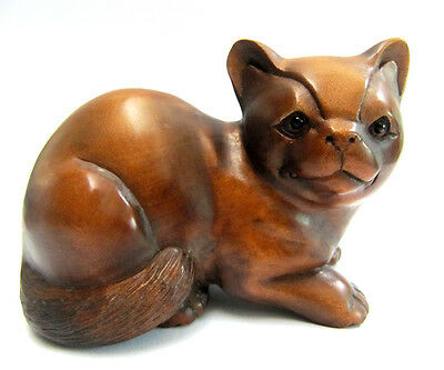 Y3549 : 6.5*9x6.0 CM Hand Carved Boxwood Carving : Big Cat