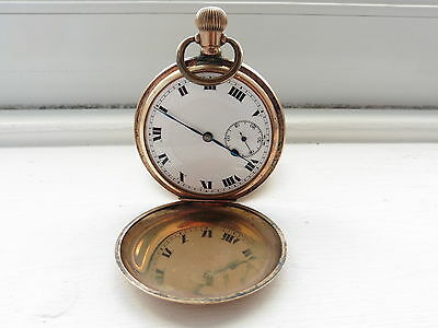 Gold Plated pocket watch Antique Vintage 1960 c spares and repairs not tested 3