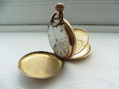 Gold Plated pocket watch Antique Vintage 1960 c spares and repairs not tested 5
