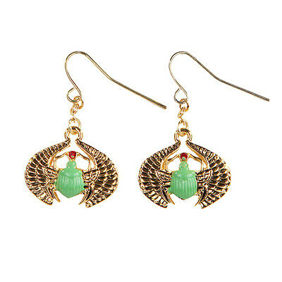 Egyptian Egypt Green Scarab Amulet Earrings Set.Ancient Egypt Fashion Jewelry