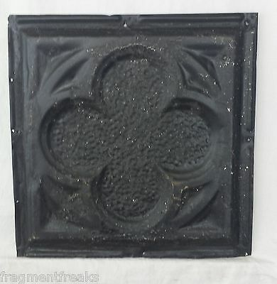 "Reclaimed 1890's 12"" x 12.5"" Antique Tin Ceiling Tile  Vintage Black JR13"