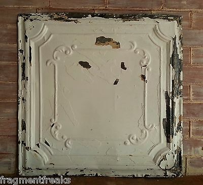 """24""""x 24"""" Antique Ceiling Tin White *See Our Salvage Videos Reclaimed C37 Metal"""