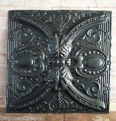 """1890's Reclaimed 24""""x 24"""" Antique Ceiling Tin Tile  Black A67 Anniersary Chic"""