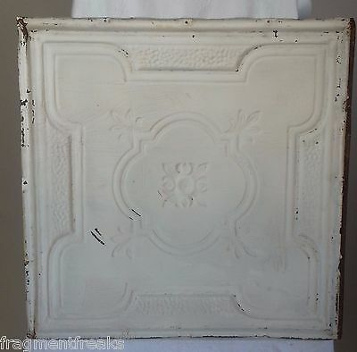 "24""x 24"" Antique Ceiling Tin Tile *See Our Salvage Videos* White A12"