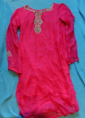 Pretty pink lined beaded Kameez Indian Palistani summer tunic top Asian fits 10