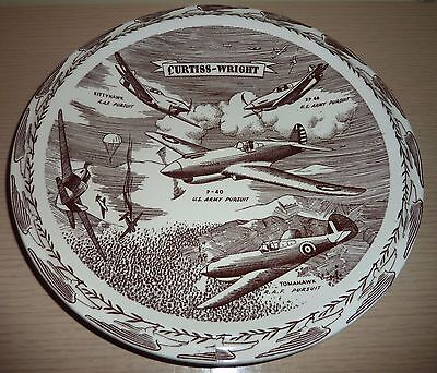 Vernon Kilns Collector Plate ~ Curtiss Wright ~ Pursuit Planes