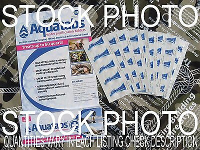 AQUATABS WATER PURIFICATION TABLETS-Survival First-FRESHEST EXP DATE! 10/24