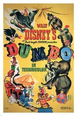 Walt Disney's Dumbo MOVIE POSTER 1941 24X36 VINTAGE CARTOON Rare Hot New - YY1