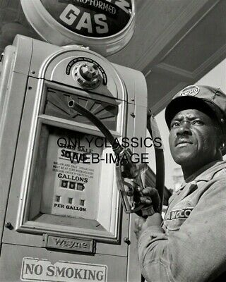 1942 Amoco Gas Station Photo Black Attendant In Uniform Americana Automobilia