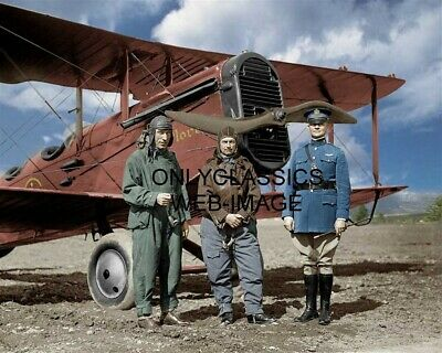 1925 Wwi World War One Aviators Biplane Colorized Photo Vintage Air Fighters