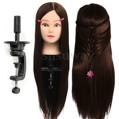 New 26'' 30% Real Human Hair Training Head Hairdressing Mannequin Salon +Clamp