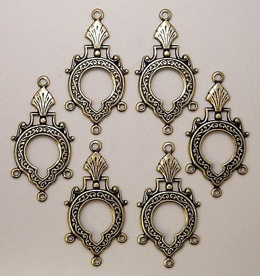 #1823 ANTIQUED GOLD FILIGREE 4 RING CHANDELIER COMPONENT - 6 Pc Lot