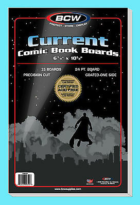 25 BCW CURRENT SIZE COMIC BOOK BACKING BOARDS Modern Storage White Acid Free