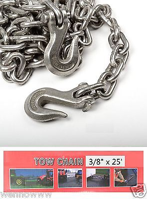 """3/8"""" X 25ft Tow Chain Automotive Truck Towing Log Chain"""