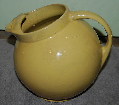 Antique Early Mccoy Yellow Stoneware Pottery Ball Pitcher W/ice Lip