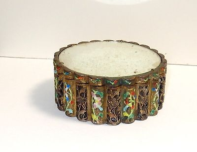 Rare 19Th Century Chinese Bronze Cloisonne Repousse Open Enamel Mirror Jar Box