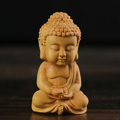 JP061 -- 6.8*3.9*3.0 CM  Carved Boxwood Figurine Carving : Rulai Buddha Boy