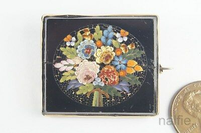 Antique Mid Victorian 15K Gold Floral Micromosaic Brooch