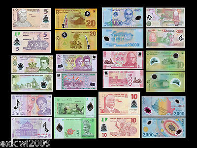 Polymer Banknote Set 12 PCS all Mint Uncirculated Banknotes Set # 2