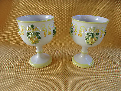 Pair Of ITALIAN POTTERY Hand painted Large Pedestal Chalice Cups Or Vases