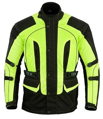 Texpeed Waterproof & Armoured Motorbike Jacket In Black & High Vis