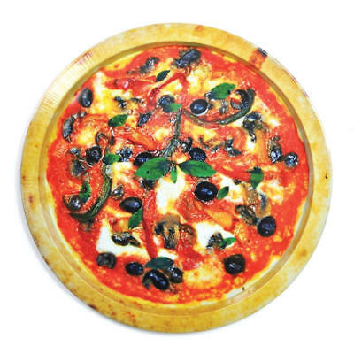 Novelty Good Enough To Eat Round Pizza Shaped Design Tin Serving Tray
