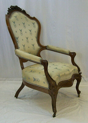 Antique 1860s Rococo Victorian Walnut Deep Carved Parlor Fireside Chair
