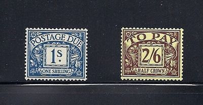 GREAT BRITAIN 1938-9 Postage Dues (2) hi-values F/VF MH