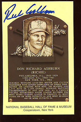 Yellow Hall of Fame Plaque Autographed Richie Ashburn Hologram