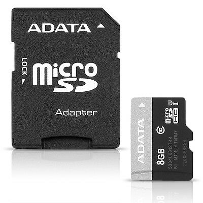 ADATA Premier 8GB microSDHC UHS-I Flash Memory Card & SD Adapter - Class 10