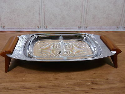 Vintage Glo Hill  Serving  Tray Butter Scotch Bakelite Handles Glass Insert