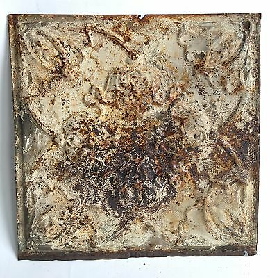 """12"""" x 12"""" Antique 1890's Tin Ceiling Tile Ivory 108A *SEE OUR SALVAGE VIDEOS"""