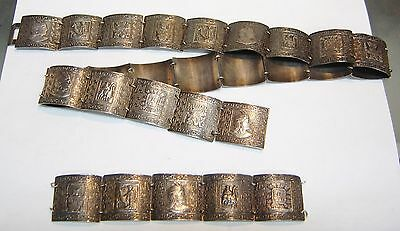 Vintage Estate Peru Inca Symbol Sterling Silver Concho Belt W/ Extra Links 576-B