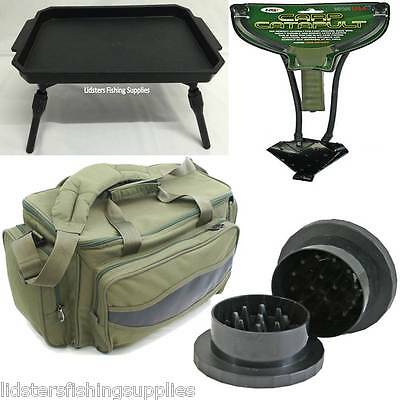 Green Bag + Plastic Table + Ngt Carp Fishing Catapult For Bait + Boile Grinder