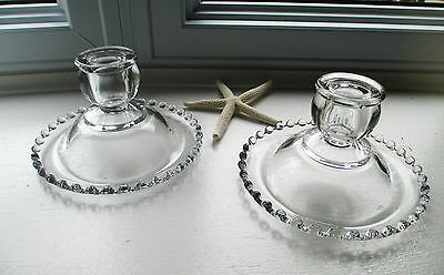 "Imperial Candlewick Pair Candleholders Rolled Edge Beaded Glass 3"" USA"