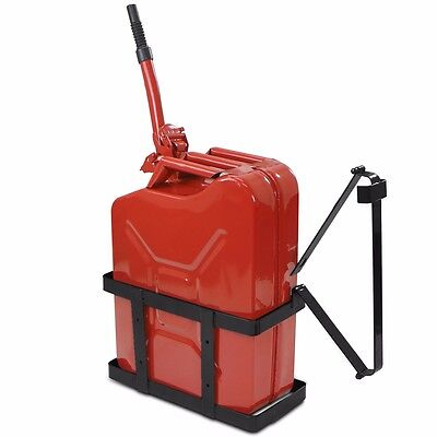 off road 5.25 Gallon 20L Gas Jerry Can Fuel Steel Tank Military red w/ Holder