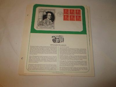 US Stamps PCS Panel FDC #1030 Block of Six 1/2c Benjamin Franklin 1955