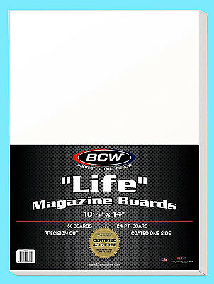 "50 BCW LIFE MAGAZINE SIZE 10-7/8"" x 14"" BACKING BOARDS Storage White Backer"