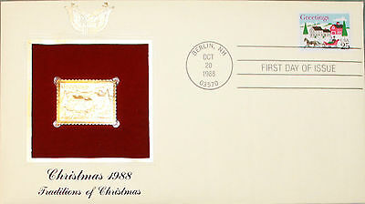 First Day of Issue, Christmas of 1988, Traditions of Christmas, Golden Replica