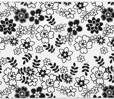 "Retro Flowers / Black & White Tissue Paper # 413 -- 10 large sheets ...20"" x 30"""
