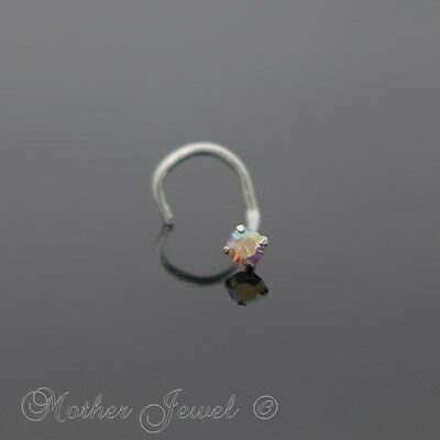 Real Solid 925 Sterling Silver Rainbow Aurora Cz Nose Screw Twist Ring Stud
