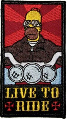 The Simpsons Homer Simpson as a Biker Live To Ride Embroidered Patch, NEW UNUSED