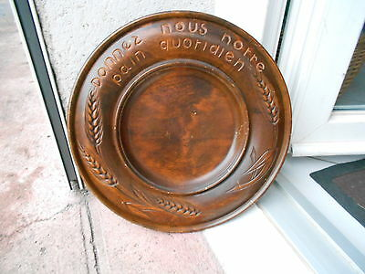 """Old french BEECH Wood Carved BREAD BOARD """"Give Us Our Daily Bread"""""""