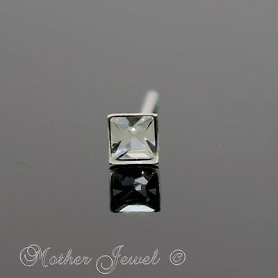 Real 925 Sterling Silver Square Clear Straight Pin Nose Fishtail Bendable Stud