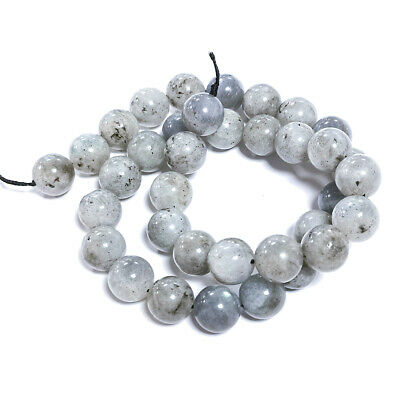 Labradorite Round Beads 10mm Grey 38+ Pcs Gemstones DIY Jewellery Making Crafts