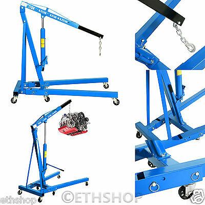 1 Ton Tonne Hydraulic Folding Engine Crane Stand Hoist lift Jack Wheel New Blue