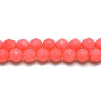Strand Of 62+ Dull Pink Coral 6mm Faceted Round Beads GS1867-2